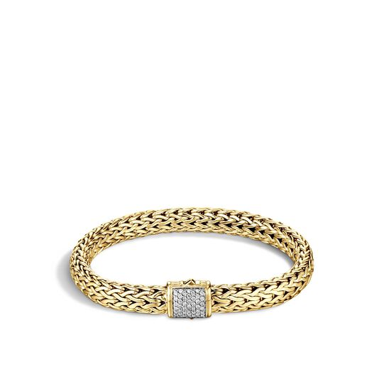Classic Chain 7.5MM Bracelet in 18K Gold with Diamonds, White Diamond, large