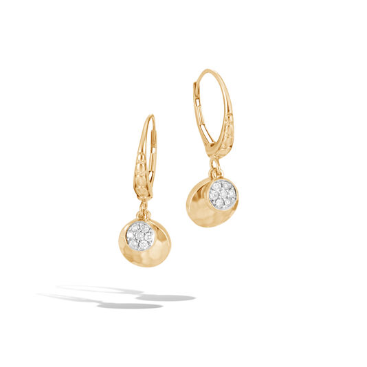 Dot Drop Earring in Hammered 18K Gold with Diamonds, White Diamond, large