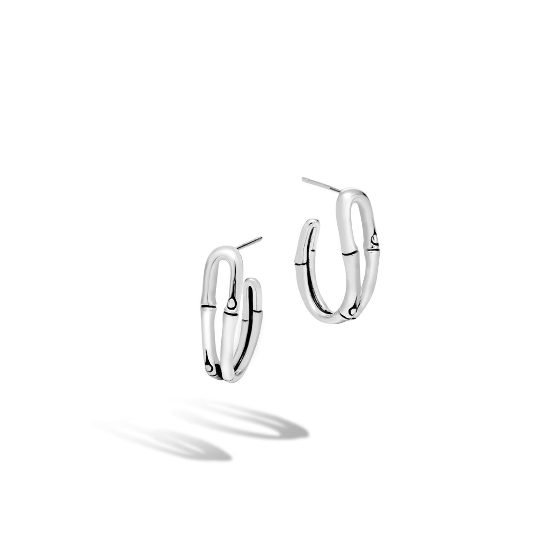 Bamboo Small Hoop Earring in Silver