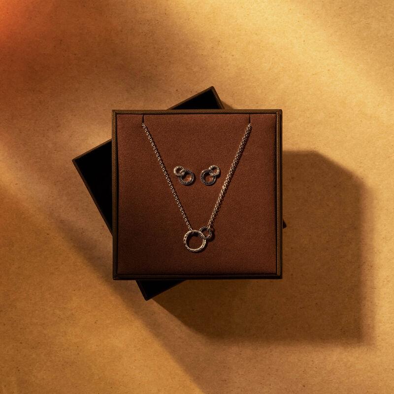 Interlocking Necklace & Earring Gift Set, Silver , Black Spinel, large