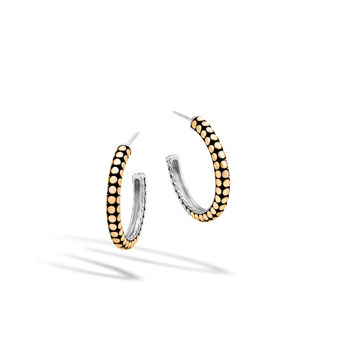 Dot Small Hoop Earring in Silver and 18K Gold