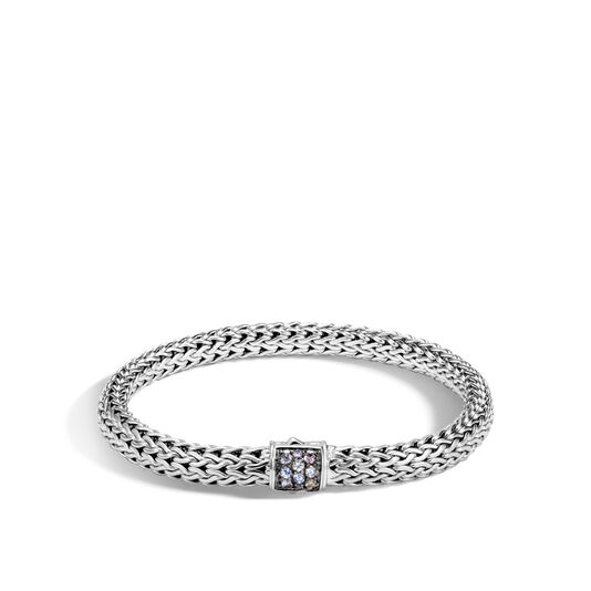 Classic Chain 6.5MM Bracelet in Silver with Gemstone, Grey Sapphire, large