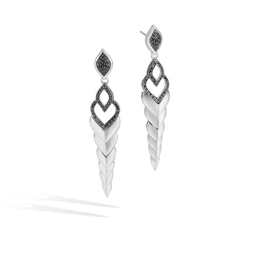 Legends Naga Drop Earring in Silver with Gemstone, Black Spinel, large