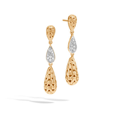 Classic Chain Drop Earring in 18K Gold, Diamonds