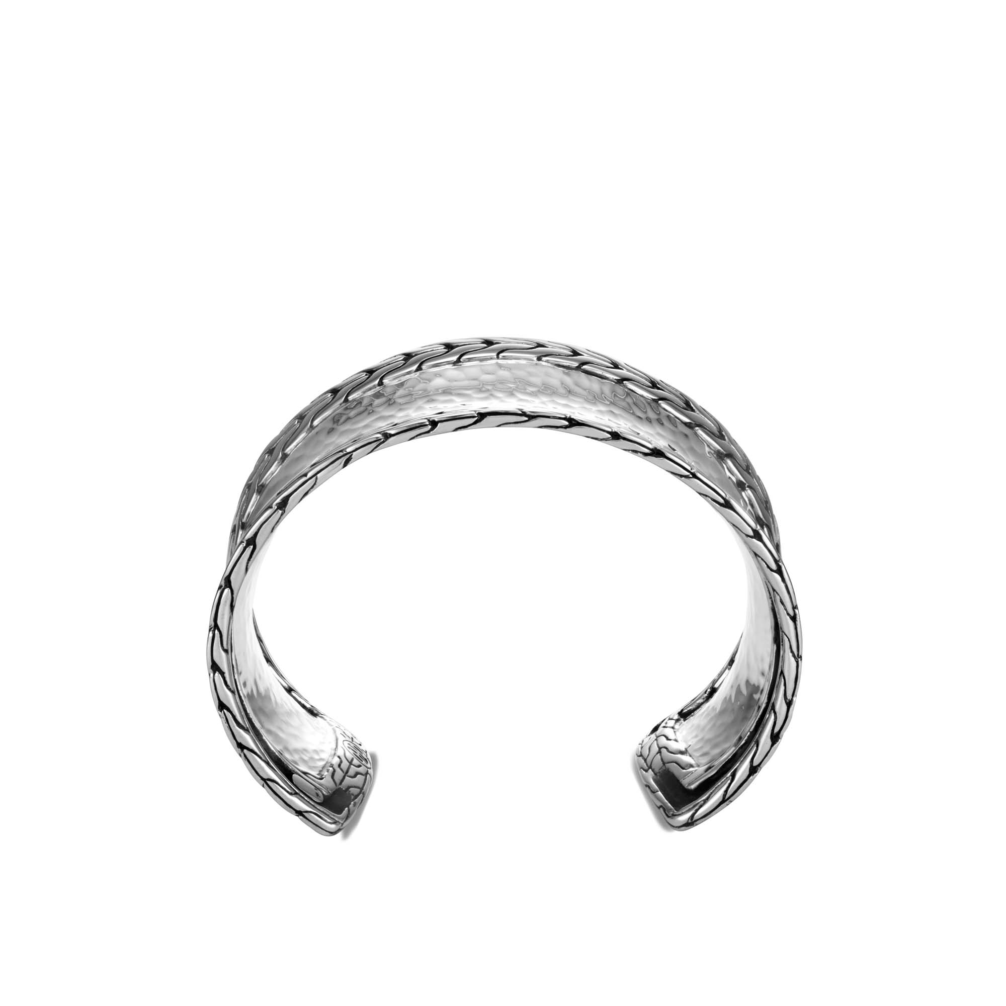 Classic Chain 40MM Cuff in Hammered Silver