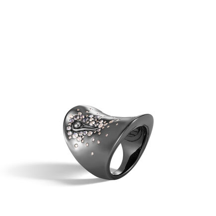 Bamboo Saddle Ring in Blackened Silver, Gemstone, Diamonds