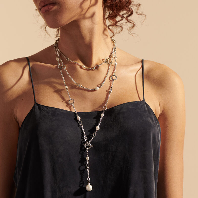 Classic Chain Transformable Sautoir Necklace, Silver, Pearl, White Fresh Water Pearl, large