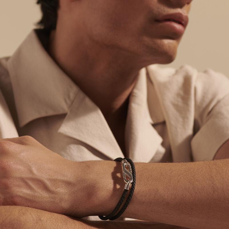 Classic Chain Double Wrap Bracelet, Silver, Leather, , large