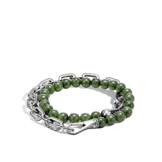 Classic Chain Double Wrap Bracelet in Silver with 8MM Gems, Nephrite Green Jade, large