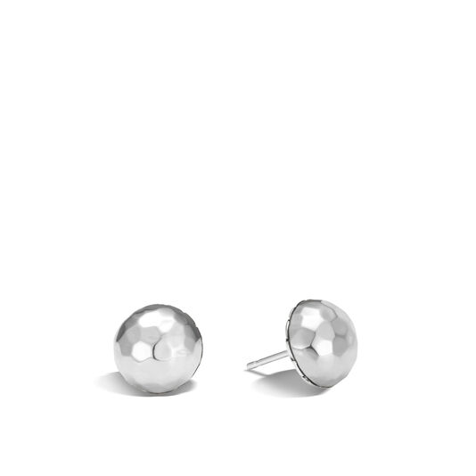 Classic Chain Stud Earring in Hammered Silver, , large