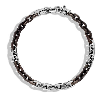 Dot 11.5MM Link Necklace in Silver with Wood