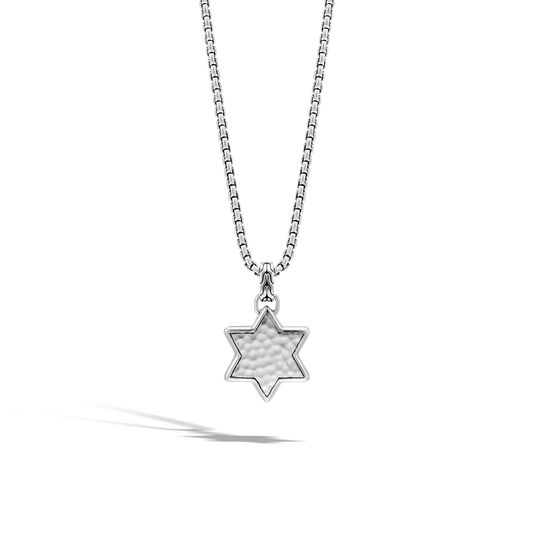 Classic Chain Star of David Pendant in Hammered Silver, , large
