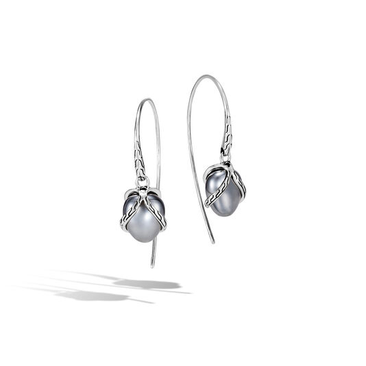 Classic Chain Drop Earring In Silver with 10MM Gemstone, Hematite, large