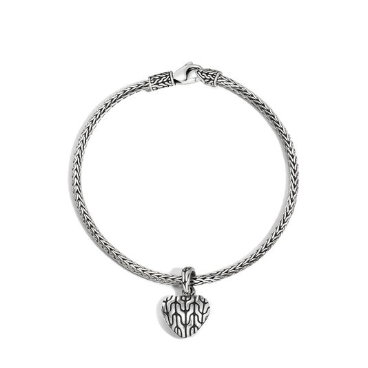 Classic Chain Heart Charm Bracelet in Silver, , large