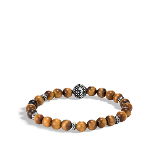 Classic Chain Bead Bracelet, Silver, 8MM Gemstone, Brown Tiger Eye, large