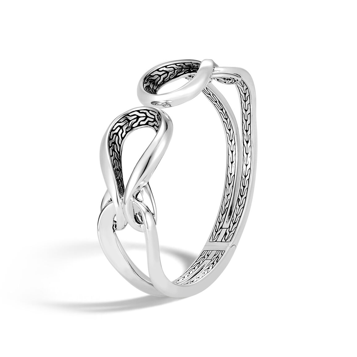 Asli Classic Chain Link Hinged Cuff in Silver