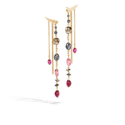 Classic Chain Drop Earring in 18K Gold with Gemstone