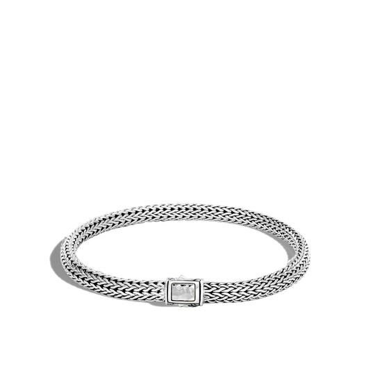 Classic Chain 5MM Hammered Clasp Bracelet in Silver , , large