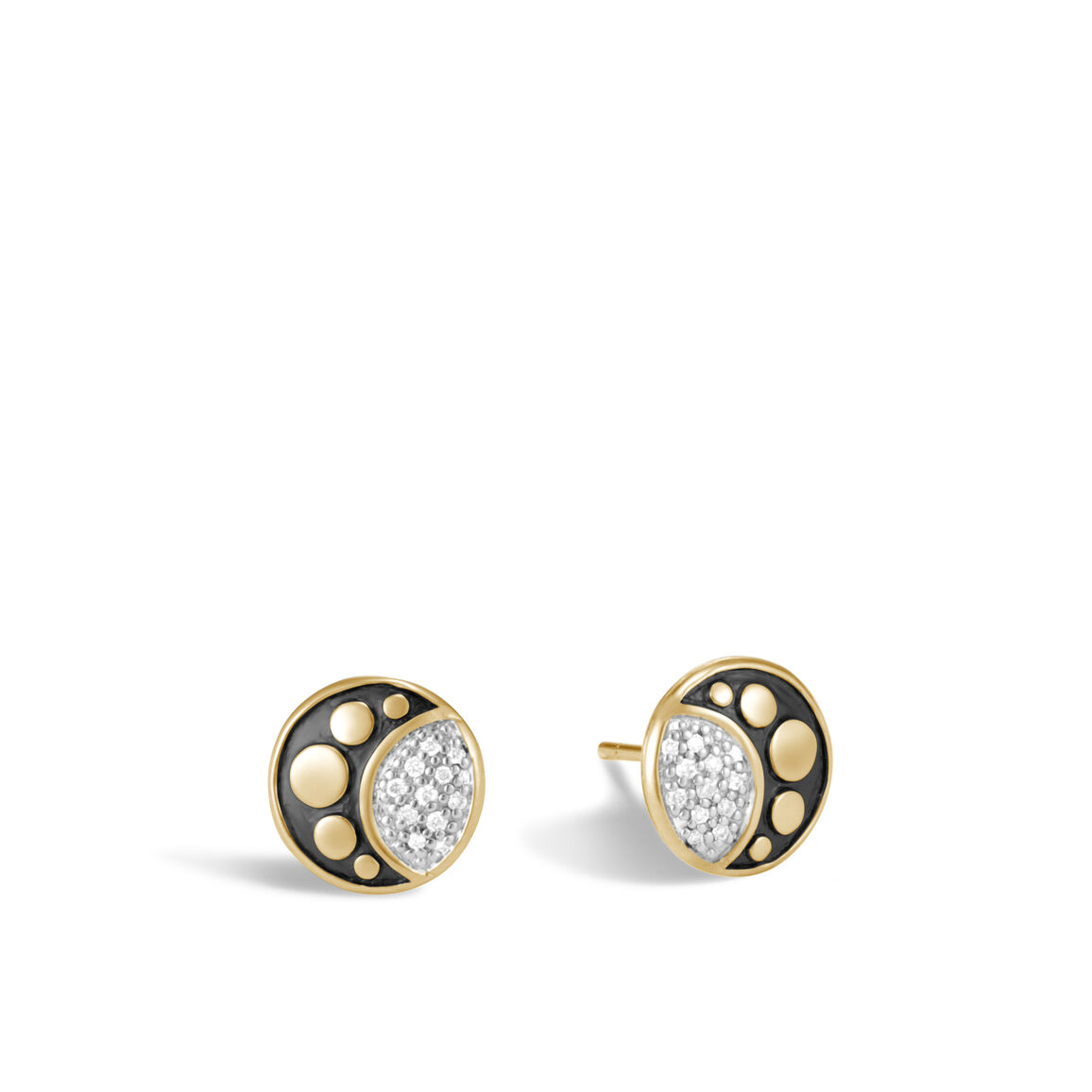 Dot Moon Phase Stud Earring in 18K Gold with Diamonds