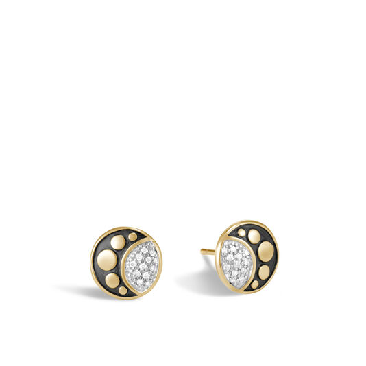 Dot Moon Phase Stud Earring in 18K Gold with Diamonds, White Diamond, large