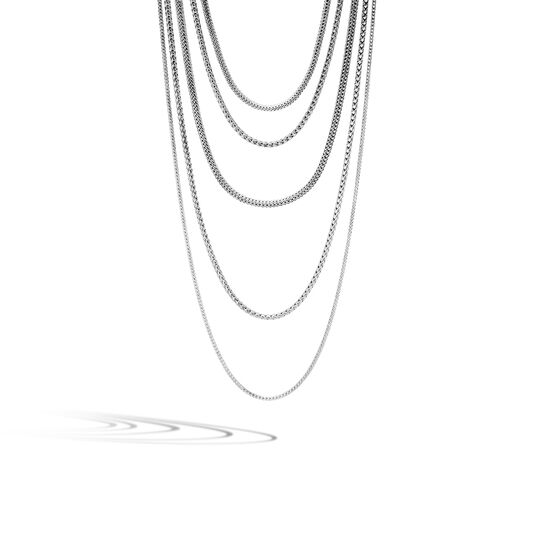 Classic Chain Five Row Necklace in Silver, , large