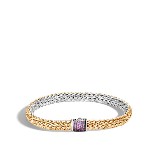 6.5MM Reversible Bracelet in Silver and 18K Gold with Gemstone, Pink Sapphire, large