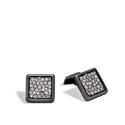 Classic Chain Cufflinks in Blackened Silver with Diamonds