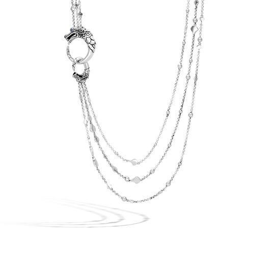 Legends Naga Multi Row Necklace in Silver, Blue Sapphire, large