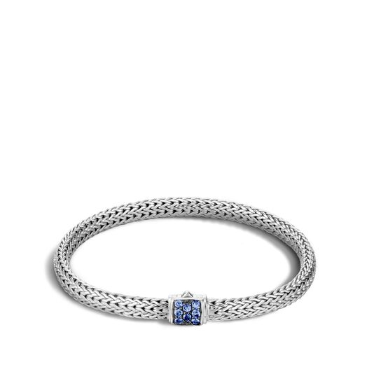 Classic Chain 5MM Bracelet in Silver with Gemstone, Blue Sapphire, large
