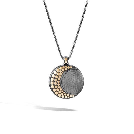 Dot Moon Phase Pendant Necklace Black Hammered Silver 18k