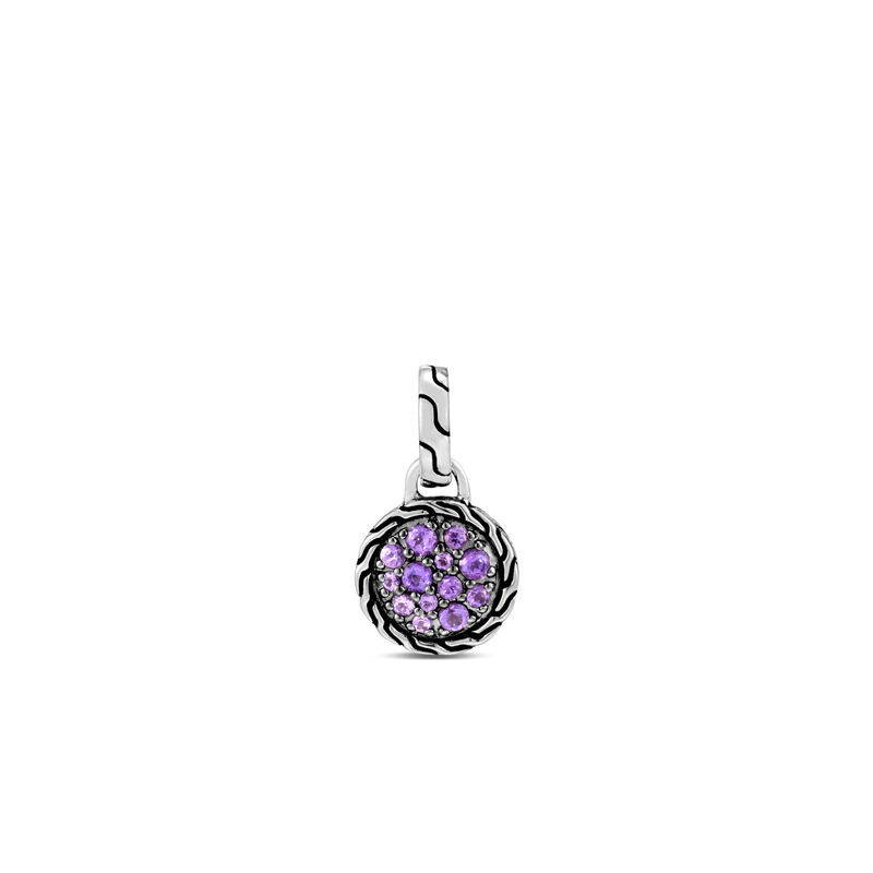 Classic Chain 10MM Round Amulet , Amethyst, large