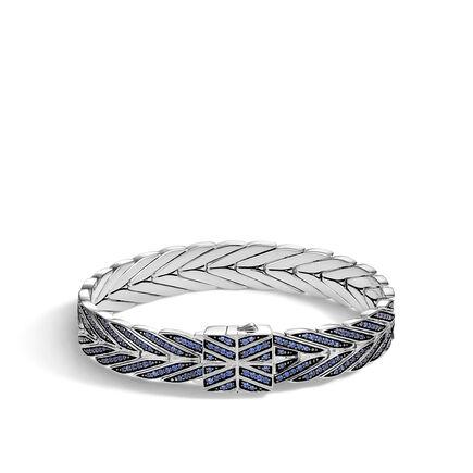 Modern Chain 11MM Bracelet in Silver with Gemstone