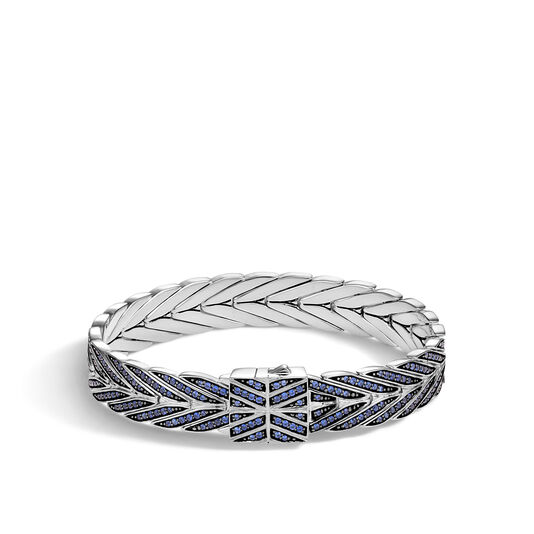 Modern Chain 11MM Bracelet in Silver with Gemstone, Blue Sapphire, large