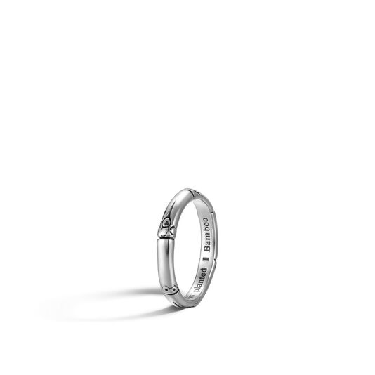 Bamboo 3MM Band Ring in Silver, , large
