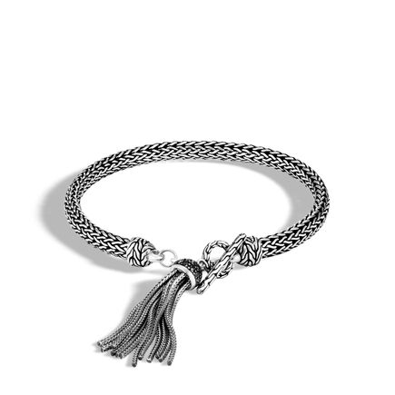 Classic Chain 5MM Tassel Charm Bracelet, Silver with Gemstone