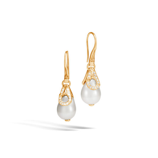 Bamboo Drop Earring in 18K Gold with11MM Pearl, Dia, White Fresh Water Pearl, large