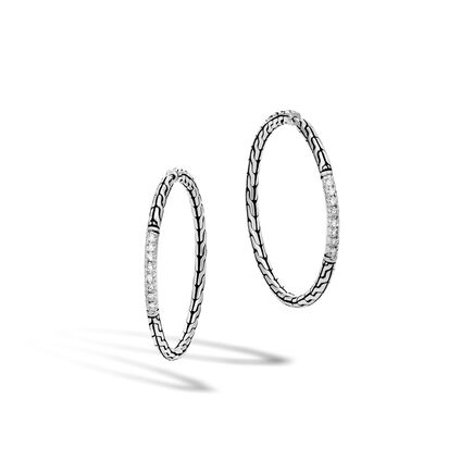 Classic Chain Medium Hoop Earring in Silver with Diamonds