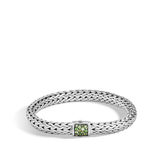 Classic Chain 7.5MM Bracelet in Silver with Gemstone, Chrome Tourmaline, large