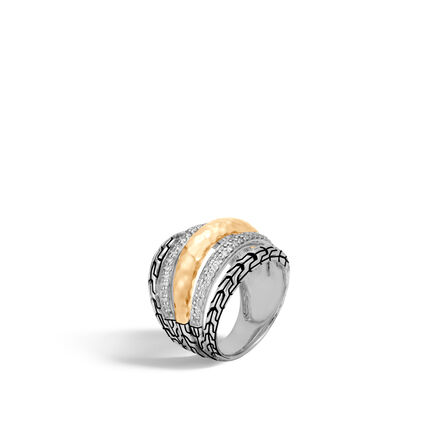 Classic Chain Ring in Silver, Hammered 18K Gold, Diamonds