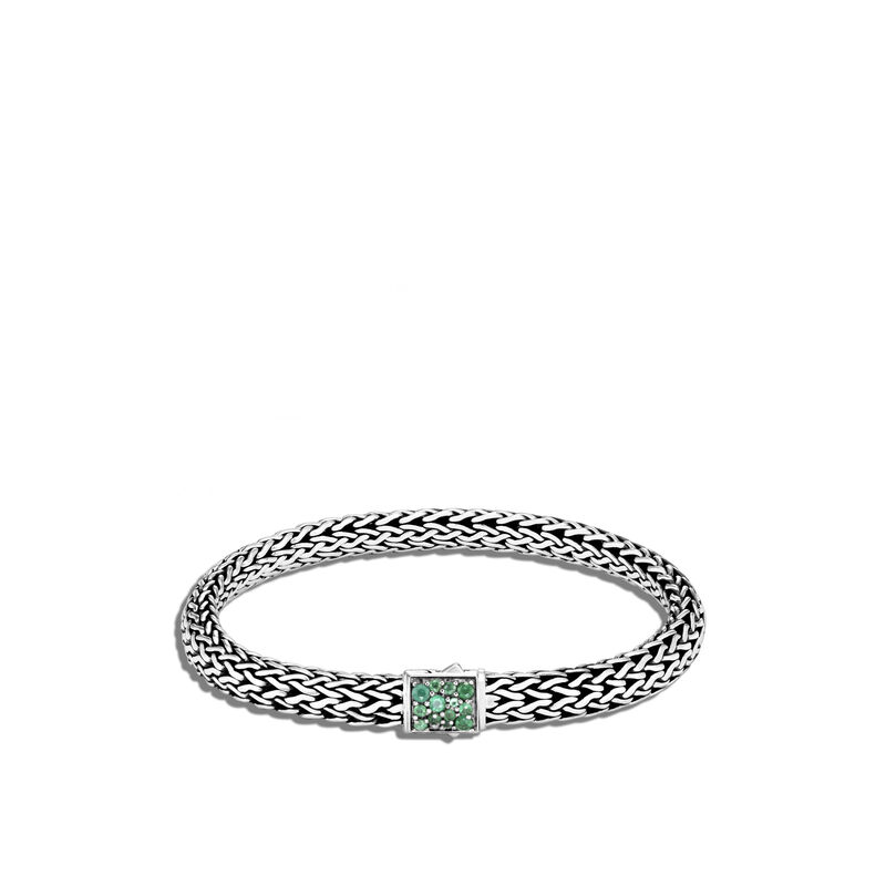 Classic Chain Reversible 6.5MM Bracelet in Silver , Emerald, large