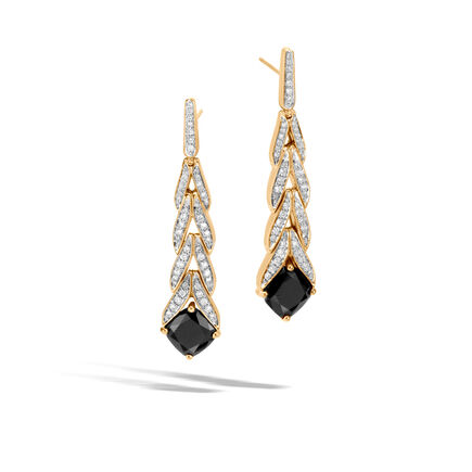 Modern Chain Magic Cut Drop Earring, 18K Gold, Gems, Dia