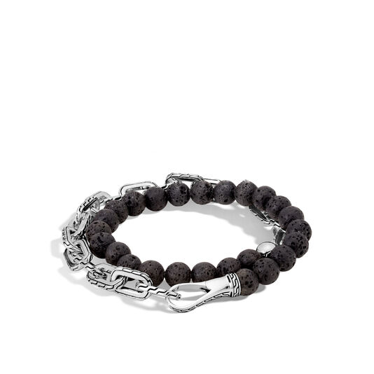 Classic Chain Double Wrap Bracelet in Silver with 8MM Gems, Black Volcanic, large
