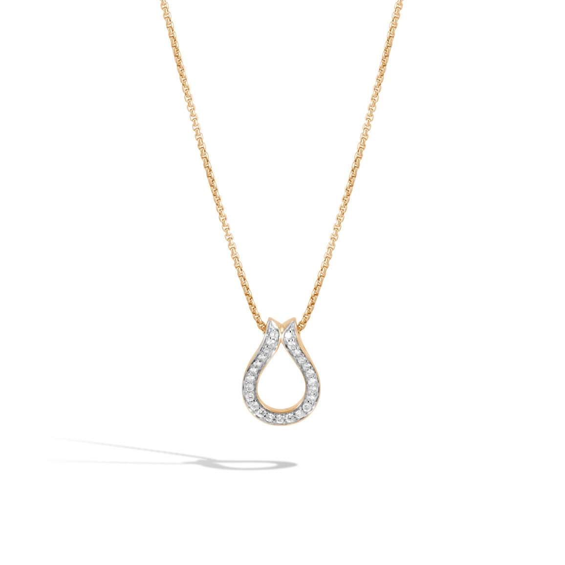 Classic Chain Pendant Necklace in 18K Gold with Diamonds