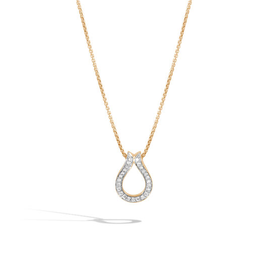 Classic Chain Pendant Necklace in 18K Gold with Diamonds, White Diamond, large