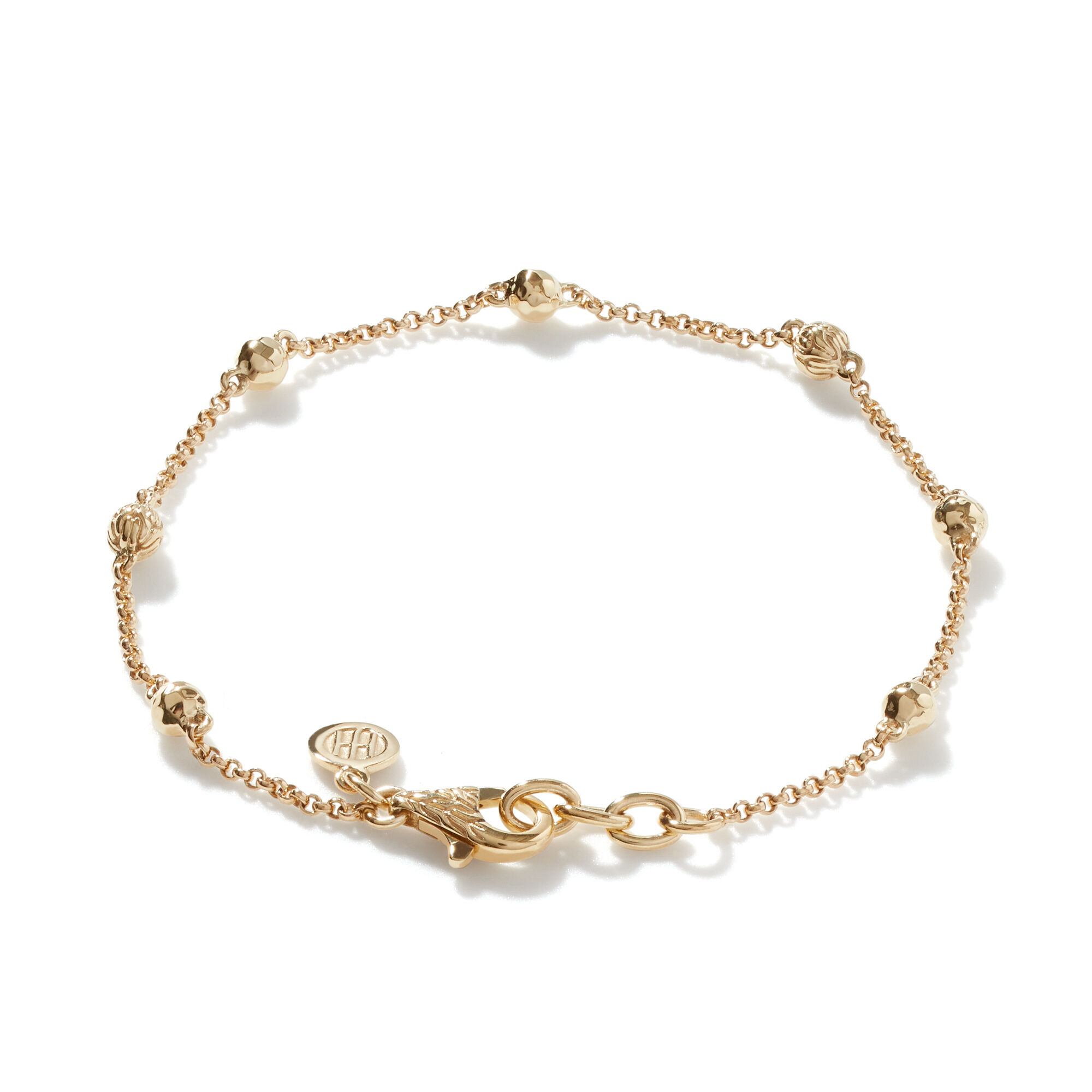 Classic Chain Bead Bracelet in Hammered 18K Gold, , large