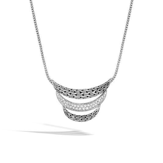 Classic Chain Bib Necklace in Silver with Diamonds, White Diamond, large