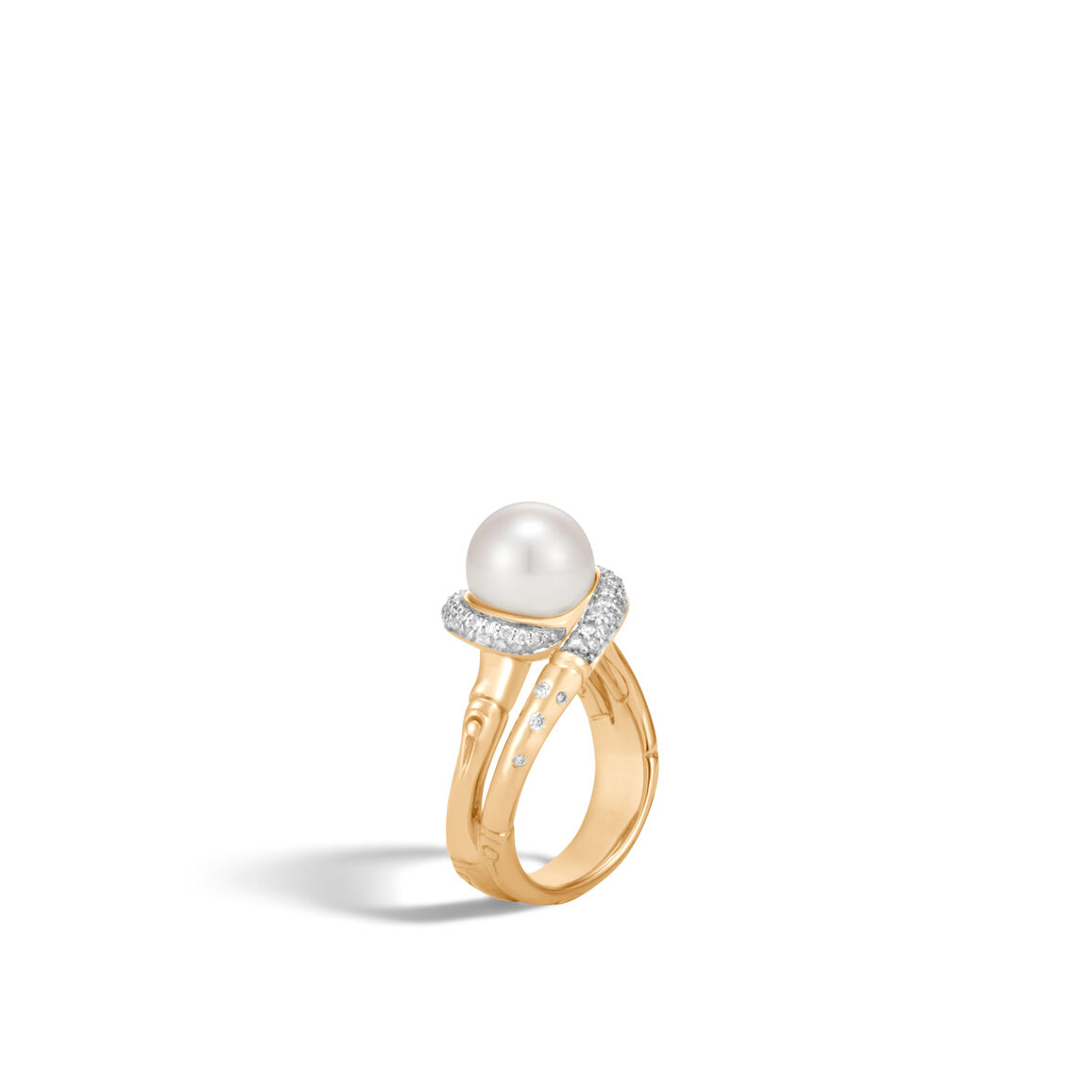 Bamboo Ring in 18K Gold with 9.5-10MM Pearl, Dia