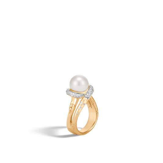 Bamboo Ring in 18K Gold with 9.5-10MM Pearl, Dia, White Fresh Water Pearl, large