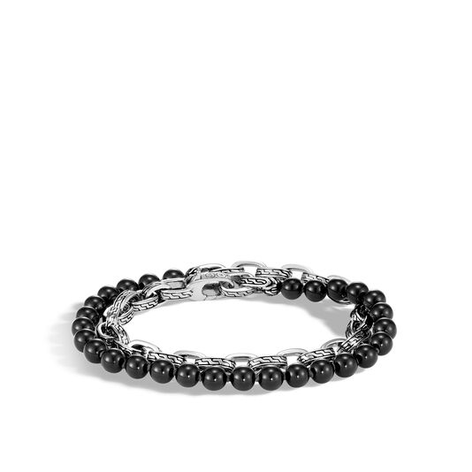 Classic Chain Double Wrap Bracelet in Silver with 6MM Gems, Black Onyx, large