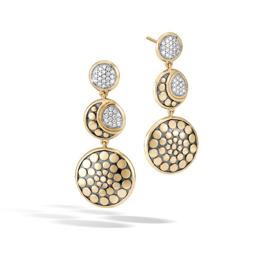 Dot Moon Phase Drop Earring in 18K Gold with Diamonds, White Diamond, large